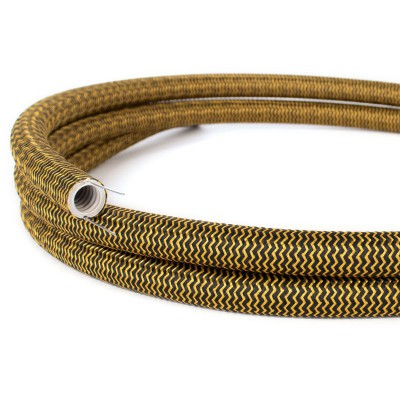 Creative-Tube flexible conduit, Rayon ZigZag Gold and Black RZ24 fabric covering, diameter 20 mm
