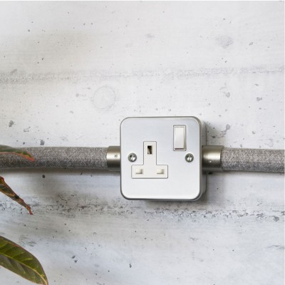 Metal clad box with UK socket and single switch for Creative-Tube