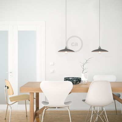 Pendant lamp with textile cable, ceramic Dish lampshade and metal details - Made in Italy - Bulb included