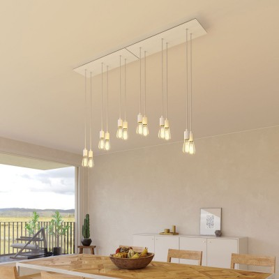 6-light pendant lamp with 675 mm rectangular XXL Rose-One, featuring fabric cable and metal finishes