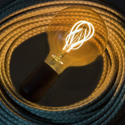 LED Golden Light Bulb - Globe G95 Curved Double Loop Filament - 5W E27 Dimmable 2000K