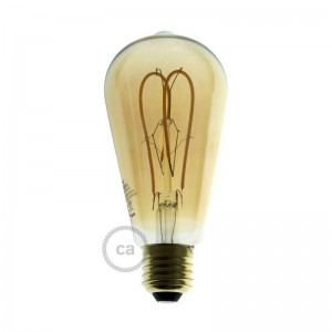 LED Golden Light Bulb - Edison ST64 Curved Double Loop Filament - 5W E27 Dimmable 2000K
