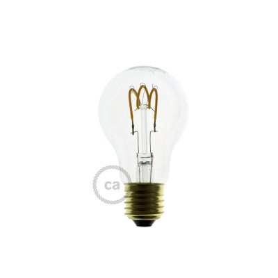 LED Transparent Light Bulb - Drop A60 Curved Spiral Filament - 3W E27 Dimmable 2200K