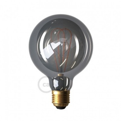 LED Smoky Light Bulb - Globe G95 Curved Double Loop Filament - 5W E27 Dimmable 2000K