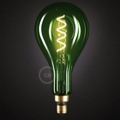 XXL LED Emerald Light Bulb - Pear A165 Curved Spiral Filament - 5W E27 Dimmable 2200K