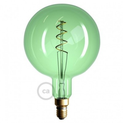 XXL LED Emerald Light Bulb - Sphere G200 Curved Spiral Filament - 5W E27 Dimmable 2200K