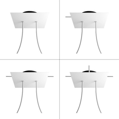 Square Rose-One 2-hole and 4 side holes ceiling rose Kit, 200 mm