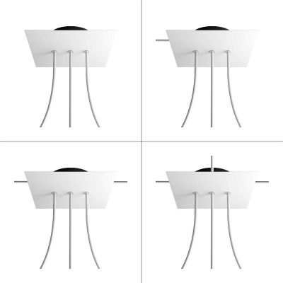 Square Rose-One 3 in-line holes and 4 side holes ceiling rose Kit, 200 mm