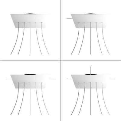 Square XXL Rose-One 5 in-line holes and 4 side holes ceiling rose Kit, 400 mm