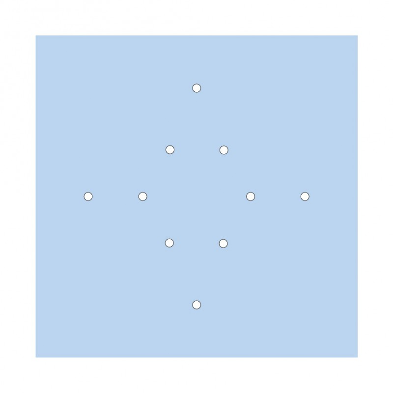 Square XXL Rose-One 10-hole and 4 side holes ceiling rose Kit, 400 mm