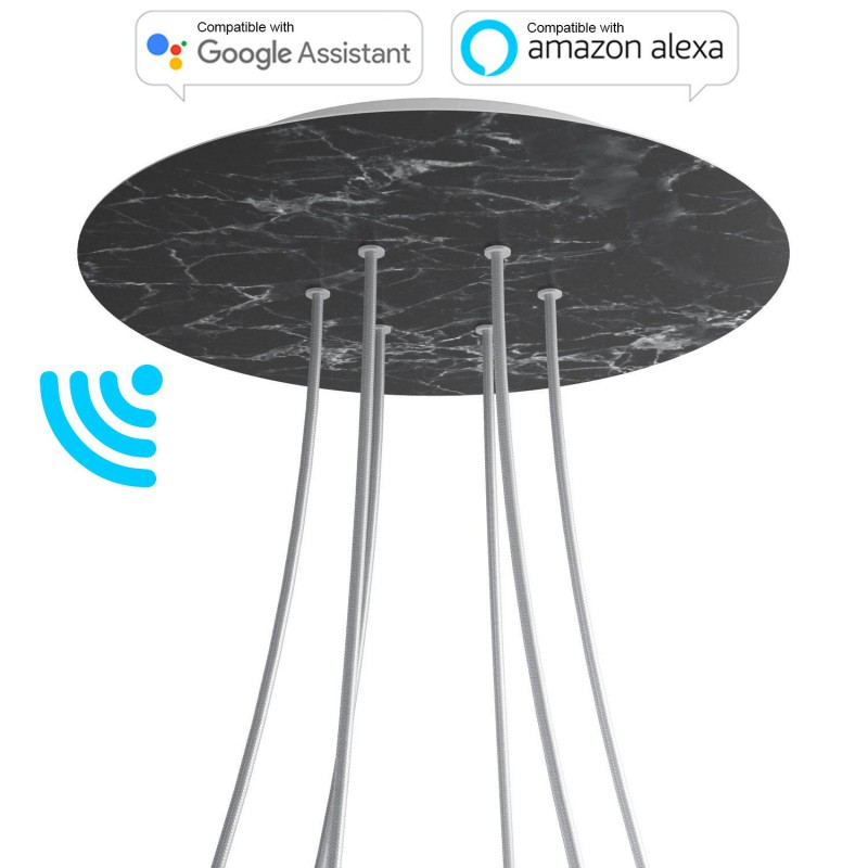 Large Round Smart ceiling rose, 400 mm Panel Rose-One with 6 holes - compatible with voice assistants