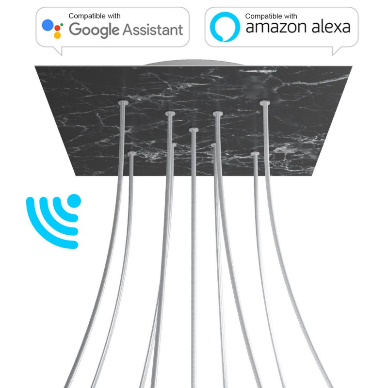Large Square Smart ceiling rose, 400 mm Panel Rose-One with 9 X-shaped holes - compatible with voice assistants