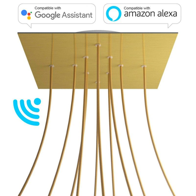 Large Square Smart ceiling rose, 400 mm Panel Rose-One with 10 holes - compatible with voice assistants