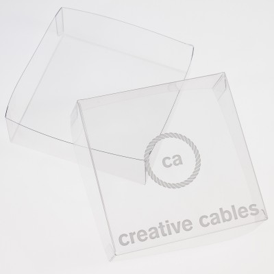Transparent boxes with trademark Creative-Cables 125x125x40. 100 pieces