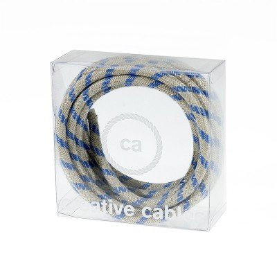 In a box Round Electric Cable covered by Steward Blue Stripes Cotton and Natural Linen RD55