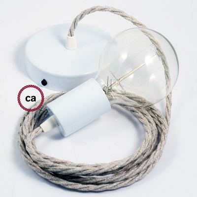 Single Pendant, suspended lamp with Neutral Natural Linen textile cable TN01