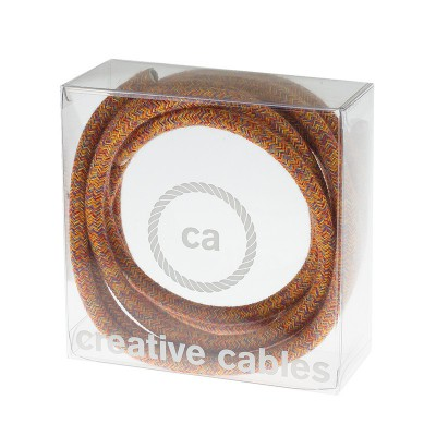In a box Round Electric Cable covered by Cotton fabric RX07 Indian Summer
