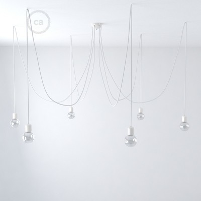 White ceramic spider, multiple suspension with 6-7 pendels, RM01 white cable. Made in Italy.
