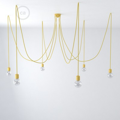 Yellow ceramic spider, multiple suspension with 6-7 pendels, RM10 yellow cable. Made in Italy.