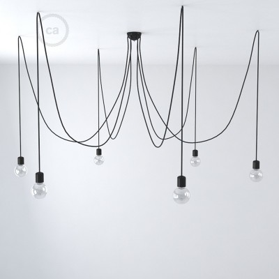 Black ceramic spider, multiple suspension with 6-7 pendels, RM04 black cable. Made in Italy.