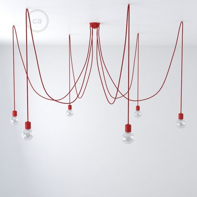 Red ceramic spider, multiple suspension with 6-7 pendels, RM09 red cable. Made in Italy.