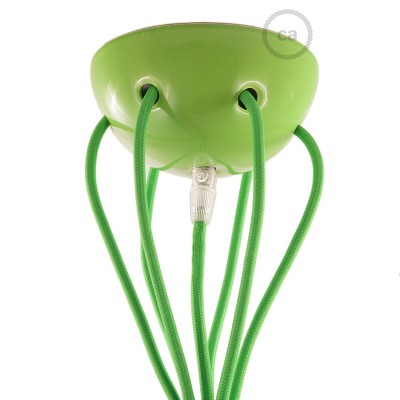 Green ceramic spider, multiple suspension with 6-7 pendels, RM18 green cable. Made in Italy.