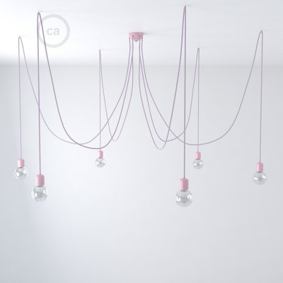 Lilac ceramic spider, multiple suspension with 6-7 pendels, RM07 Lilac cable. Made in Italy.