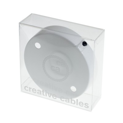 Box with 2 Holes White Cylinder Rosette Kit, bracket, screws and 2 cable retainers