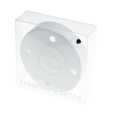 Box with 4 Holes White Cylinder Rosette Kit, bracket, screws and 4 cable retainers