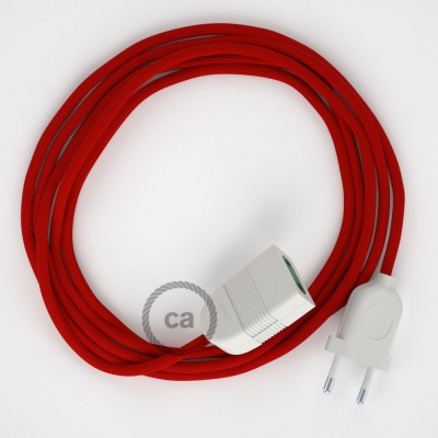 Red Rayon fabric RM09 2P 10A Extension cable Made in Italy