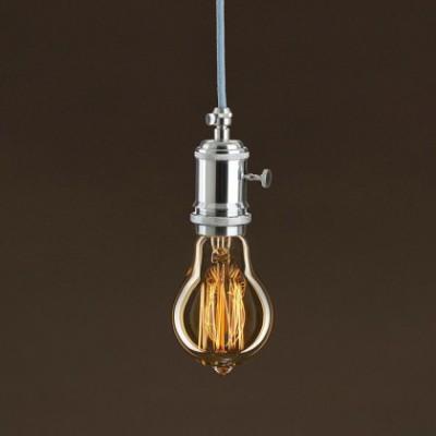 Lampadina Vintage Dorata Goccia A60 Filamento di Carbonio a Gabbia 25W E27 Dimmerabile 2000K