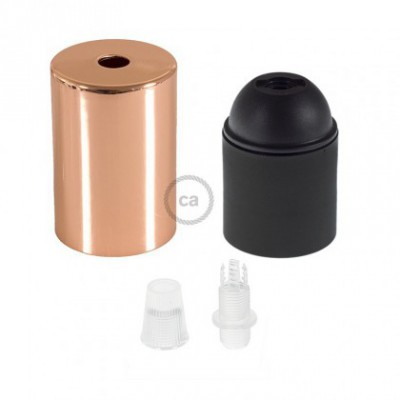 E26 UL Cylinder socket kit with copper finish cap + transparent cable retainer