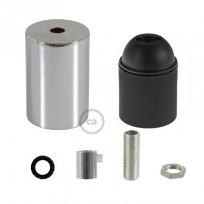 E26 UL Cylinder socket kit with chrome metal cap + cylindrical cable retainer