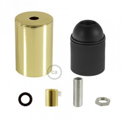 E26 UL Cylinder socket kit with brass finish cap + cylindrical cable retainer