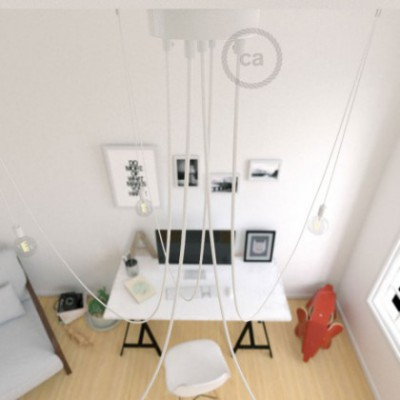 Spider, multiple suspension with 5 pendants, white metal, RM01 White cable, Made in Italy.