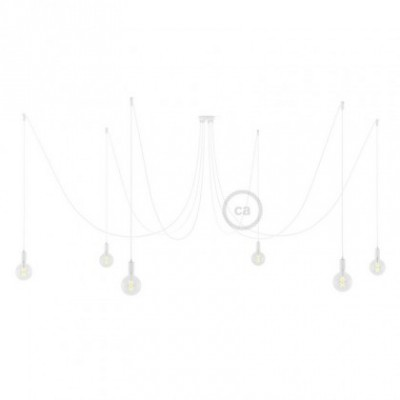 Spider, multiple suspension with 6 pendants, white metal, RM01 White cable, Made in Italy.