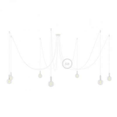 Spider, multiple suspension with 7 pendants, white metal, RM01 White cable, Made in Italy.