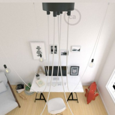 Spider, multiple suspension with 5 pendants, black metal, RM01 White cable, Made in Italy.