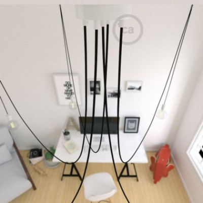 Spider, multiple suspension with 5 pendants, white metal, RM04 Black cable, Made in Italy.