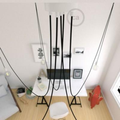 Deckenleuchte Spider metall weiß, 5 Ausgänge, mit Kabel RM04 schwarz. Made in Italy.