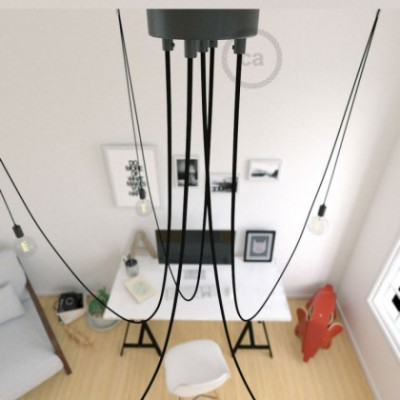 Spider, multiple suspension with 5 pendants, black metal, RM04 Black cable, Made in Italy.