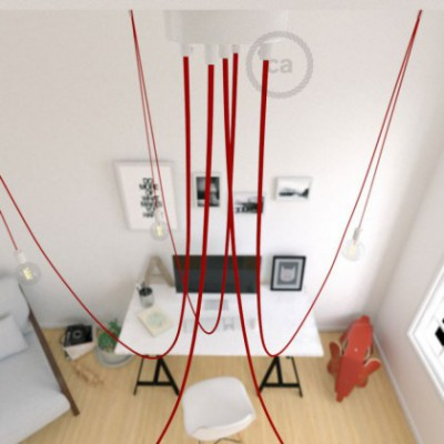Spider, multiple suspension with 5 pendants, white metal, RM09 Red cable, Made in Italy.