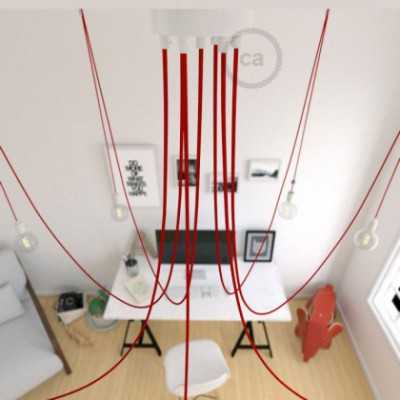 Spider, multiple suspension with 7 pendants, white metal, RM09 Red cable, Made in Italy.