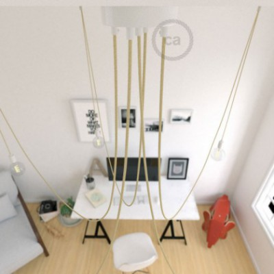 Spider, multiple suspension with 5 pendants, white metal, RN06 Jute cable, Made in Italy.