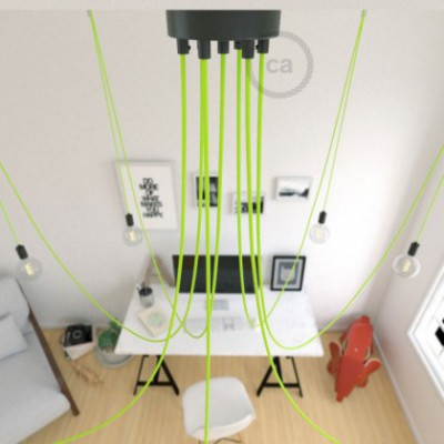 Spider, multiple suspension with 7 pendants, black metal, RF10 Neon Yellow cable, Made in Italy.