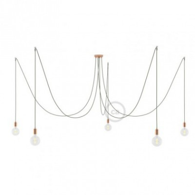 Spider, multiple suspension with 5 pendants, copper metal, RC63 Green Grey cable, Made in Italy.