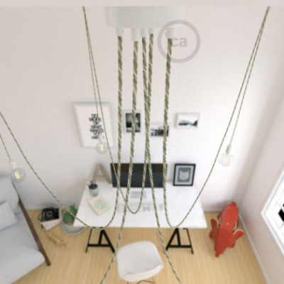 Spider, multiple suspension with 5 pendants, white metal, TN07 Country cable, Made in Italy.