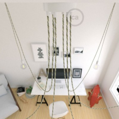 Spider, multiple suspension with 6 pendants, white metal, TN07 Country cable, Made in Italy.