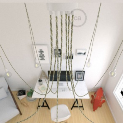 Spider, multiple suspension with 7 pendants, white metal, TN07 Country cable, Made in Italy.