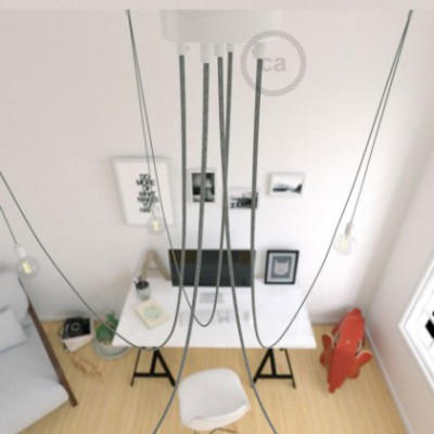 Spider, multiple suspension with 5 pendants, white metal, RN02 Grey cable, Made in Italy.